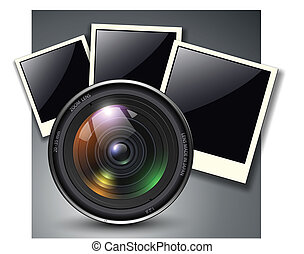 Lens with photo frames, vector illustration.