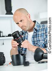 lenses on photographer desk
