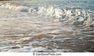 lent, écoulement, mouvement, vidéo, mer, vagues, closeup, plage, sablonneux