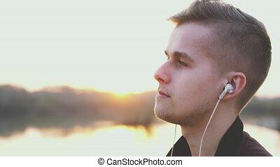 lent, écoute, flamme, motion., jeune, lentille, musique,...