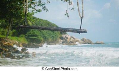 lent, île, irrigation, motion., exotique, swing., mer, vagues, plage, 1920x1080