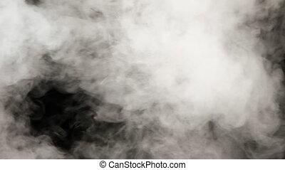 lent, 240fps., épais, vapor., fond blanc, eau, mouvement, ...
