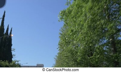 lent, alley., city's, mouvement, fenêtre, voiture, fleurir, promenades, long, vue