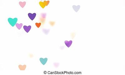 lent, amour, mouvement, champ, profondeur, fond, cœurs