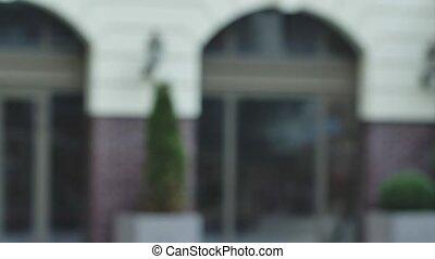 lent, architectural, extérieur, arrière-plan., fin, defocused, haut., motion., location., brouillé, urbain
