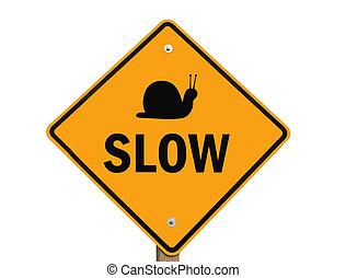 lent, avertissement, isolé, signe