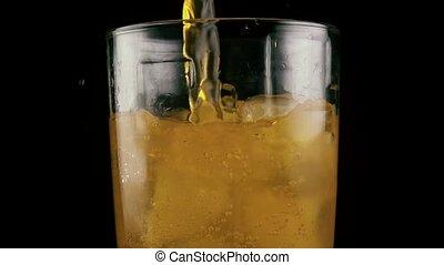 lent, boisson, verre, mo., orange, rempli