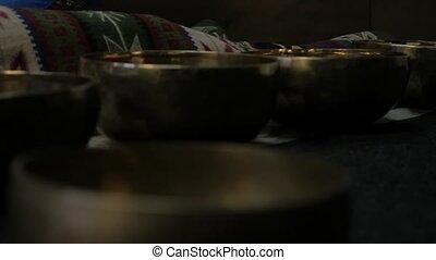 lent, bowls., tibétain, mouvement, méditation, chant