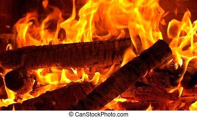 lent, brûlé, super, métrage, bois brûler, mouvement, fps, cheminée, 500
