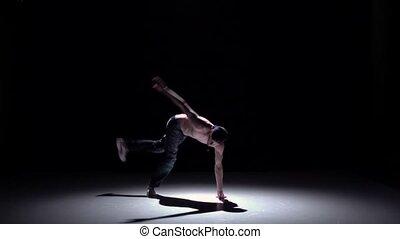 lent, breakdance, danse, débuts, casquette, mouvement, noir, homme, ombre