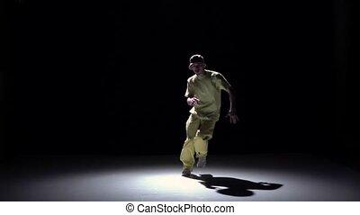 lent, breakdance, danse, débuts, jaune, mouvement, danseur, complet, noir, ombre