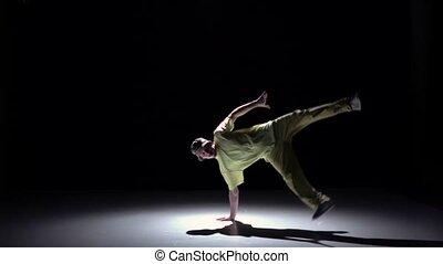 lent, breakdance, danse, jaune, mouvement, continuer, complet, noir, danseur, ombre