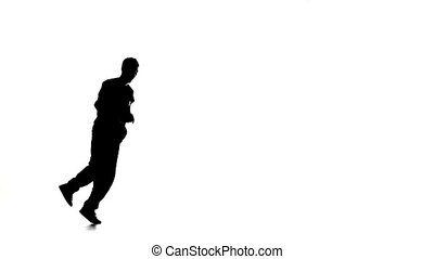 lent, breakdance, danse, silhouette, mouvement, danseur, blanc, homme