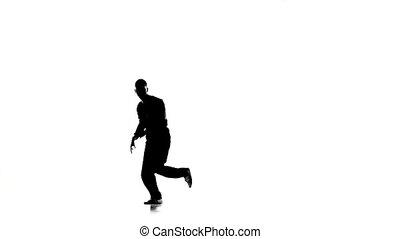 lent, breakdance, danse, silhouette, professionally, mouvement, virages, blanc, mouvements, homme