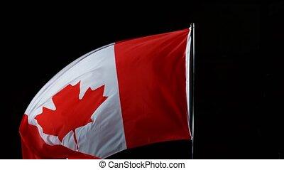 lent, canada, mouvement, drapeau, super, wind., souffler