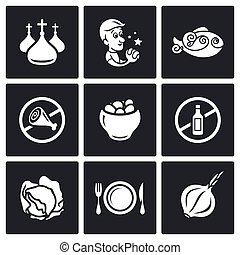 Lent celebration of Orthodox believers icons set. Vector Illustration.