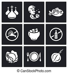 Lent celebration of Orthodox believers icons set. Vector Illustration.