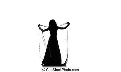 lent, châle, danse, danse, jeune, mouvement, continuer, ventre, blanc, sihouette, girl