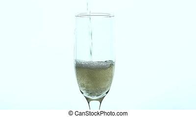 lent, champagne, -, remplissage, verre, mouvement, closeup
