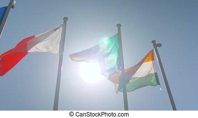 lent, coloré, diplomatie, drapeaux, -, mouvement, vent, battement des gouvernes, concept