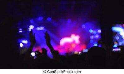 lent, concert, foule, exposition, mouvement, applaudissement