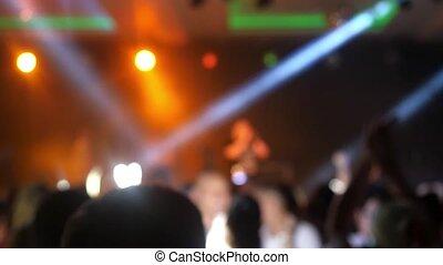 lent, concert, foule, motion., lights., brouillé, clair, amusez-vous, coloré, 1920x1080, étape