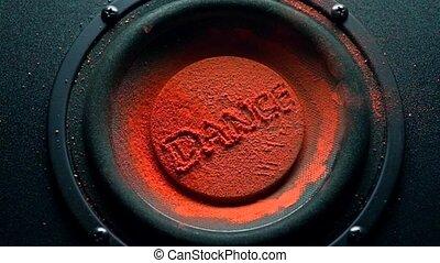 lent, coup, danse, sur, tremblement, mouvement, sous-titre, poudre, orange, super, speaker.