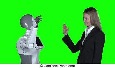 lent, donner, robot, motion main, femme, cinq, screen., vert