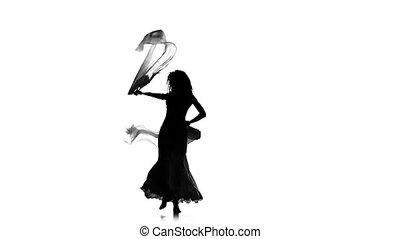 lent, femme, silhouette, danseur, mouvement, mince, ventilateurs, danse, continuer, usages, ventre, blanc, exotique