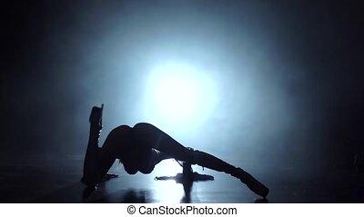 lent, floor., mouvement, danses, girl, vue postérieure
