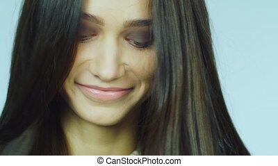 lent, foncé-d'une chevelure, mouvement, vidéo, portrait, girl