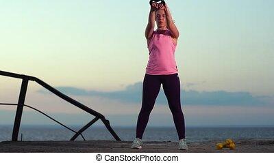 lent, fonctionnement, sportive, -, mouvement, plage, dehors