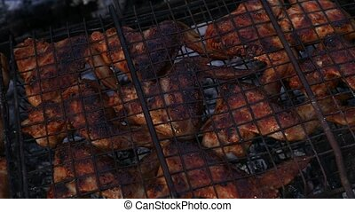 lent, grill., poulet, mouvement, chicken., rôti, barbecue, ailes