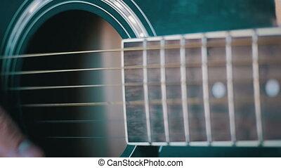lent, guitar., mouvement, acoustique, jouer, homme