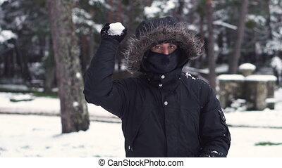 lent, hiver, motion., amusement, jouer, boules neige, homme, jeune, actif, fight., leisure., amis, boule de neige