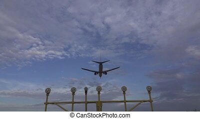 lent, jet, fond, mouvement, atterrissage, super, vue