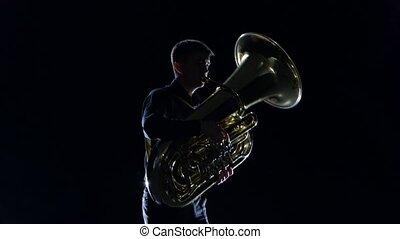 lent, jeux, tuba, noir, studio, mélodie, homme