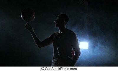 lent, joueur boule, voiture, mouvement, parc, rotation, basket-ball, nuit, encapuchonné, vide