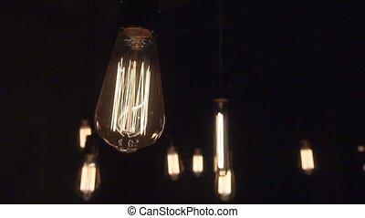 lent, lumière, isolé, ampoule, clignotant, filament, lueur