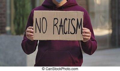 lent, mâle, rue, carton, non, arrêt, racism., protest., ...