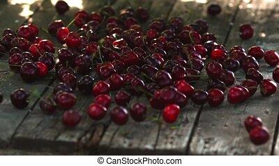 lent, mûre, bois, mouvement, cerises, automne, table, baies, rouges