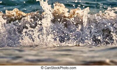 lent, macro, plage, vague, mouvement