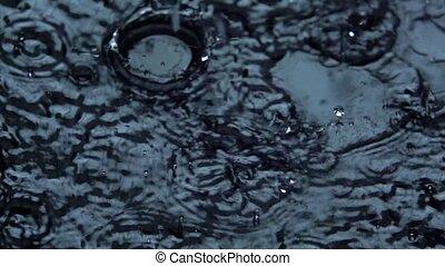 lent, motion., macro., eau, arrière-plan., noir, gouttes