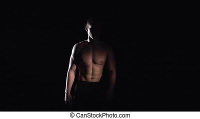 lent, musculaire, mouvement, type, black., walks.