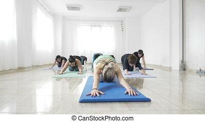lent, natte yoga, fonctionnement, étudiants, mouvement, leur, flexibilité, pendant, dehors, classe, femmes