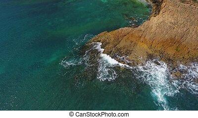 lent, ocean., rouleau, mouvement, rocheux, aérien, ...