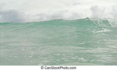 lent, plage., motion., vagues