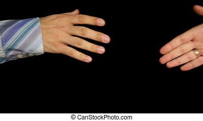 lent, poignée main, hommes, salutation, business