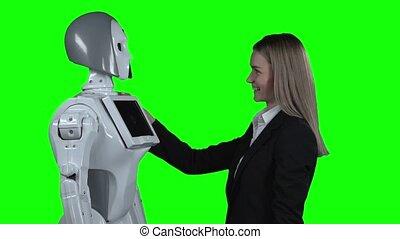 lent, robot, étreindre, screen., mouvement, vert, girl