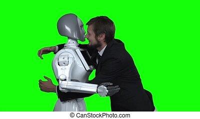 lent, robot, étreindre, screen., mouvement, vert, homme
